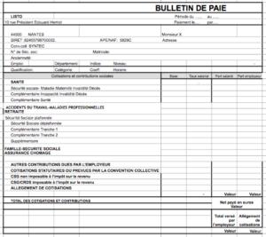 Exemple de bulletin de paie simplifié